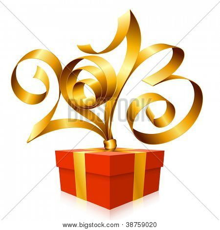 Vector golden ribbon in the shape of 2013 and red gift box. Symbol of New Year