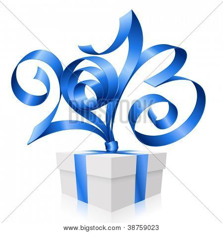 Vector blue ribbon in the shape of 2013 and gift box. Symbol of New Year