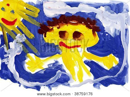 Child's drawing watercolor. Happy child open arms against the sky and sun