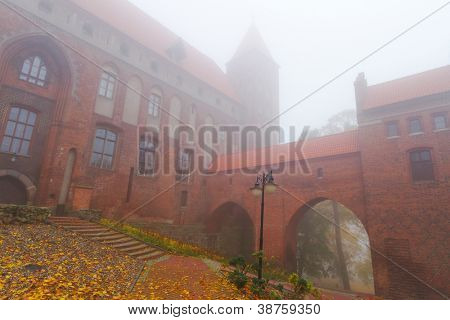 Foggy scenery of Kwidzyn castle and cathedral, Poland