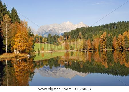Mountains And Lake At Schwarzsee  Kitzbuhel Austria