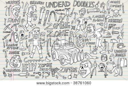 Zombie Undead Doodle Vector Illustration Set