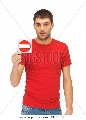 bright picture of man holding no entry sign..