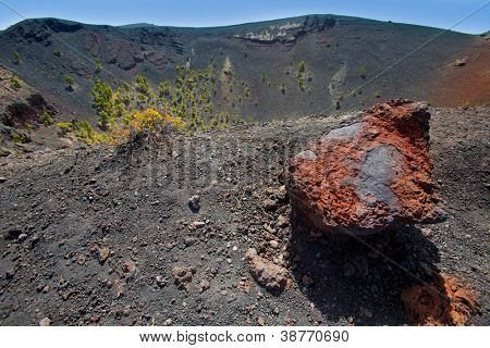 Crater in La Palma San Antonio volcano Fuencaliente at Canary islands