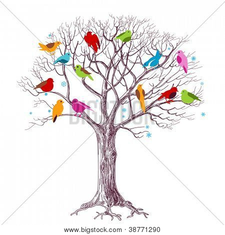 Birds Christmas tree, joy in the woods vector illustration