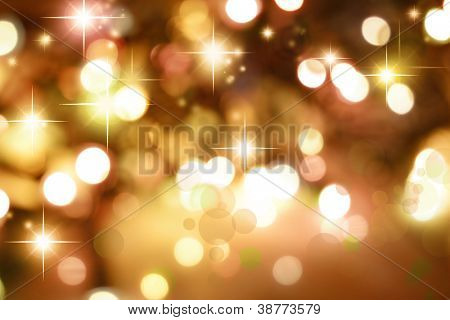 Starry golden tone Christmas background