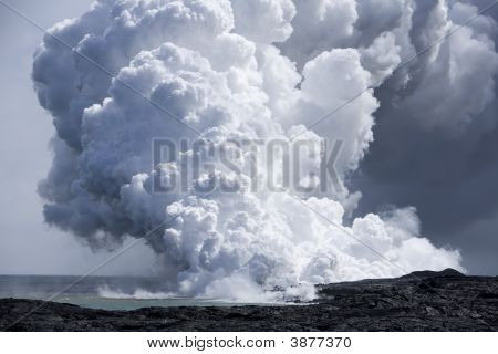 Lava Flow At Ocean