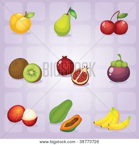 illustration of various fruits on purple background