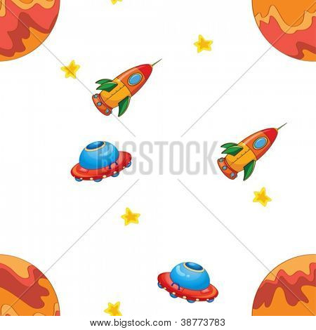 illustration of a space shuttle and flying saucers on a white background