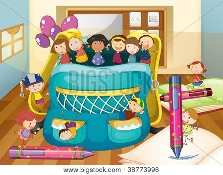 illustration of kids and big bag inside house
