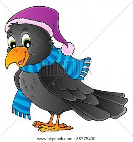 Cartoon raven theme image 1 - vector illustration.