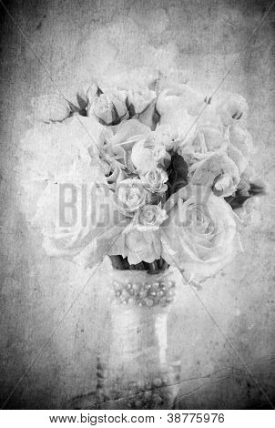 Vintage bouquet of roses in black and white
