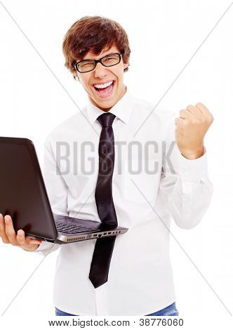 Winning latin college student with laptop in his hand. Isolated on white background, mask included