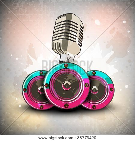 Retro musical background with microphone and speaker. EPS 10.