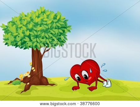 illustration of the heart and a tree in a beautiful nature