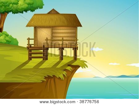 Illustration of a thai house on a cliff