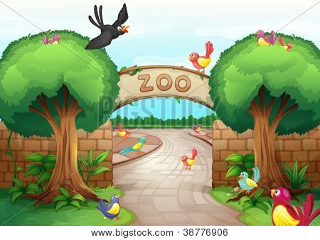 Illustration of a zoo scene