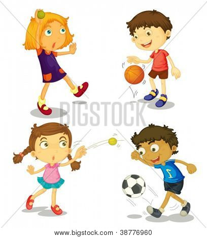 illustration of kids on a white background