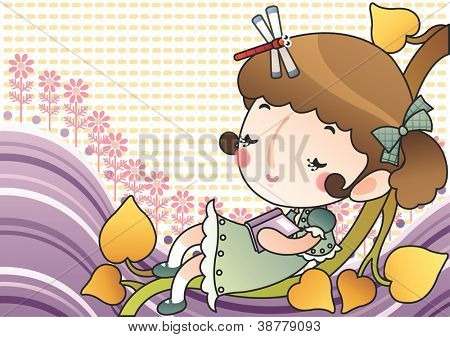Happy Relaxing Time : reading a book with a lovely cute young girl and a red dragonfly in romantic garden on a bright yellow background : vector illustration