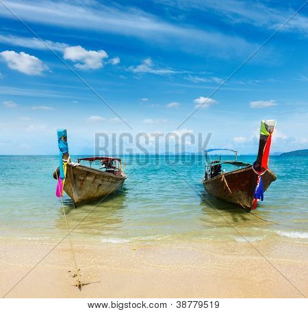 Long tail boat on tropical beach Railay beach), Krabi, Thailand
