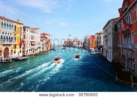 Grand canal of Venice city at sunny day. Italy
