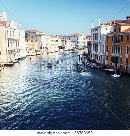 Grand canal of Venice city with boats at sunny day. Italy