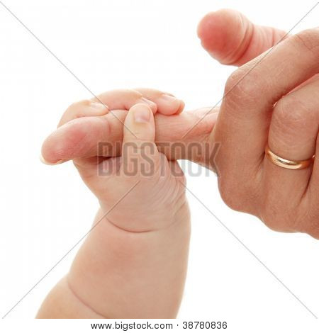 baby holds mother's finger hand, trust family help concept, isolated on white background