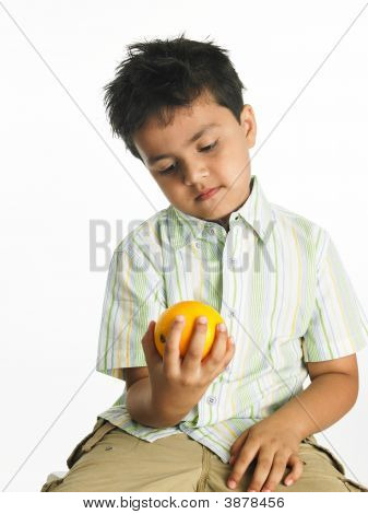 Asian Boy Holding A Yellow Orange