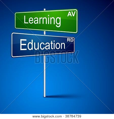Vector direction road sign with Learning education words.