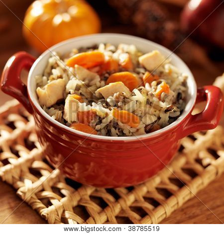 Soup- Chicken and wild rice with carrots closeup