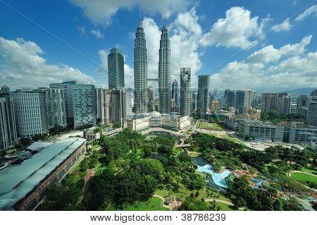 KUALA LUMPUR, MALAYSIA - AUGUST 24: Petronas Twin Towers at day on August 24, 2012 in Kuala Lumpur. Petronas Twin Towers  were the tallest buildings (452 m) in the world from 1998 to 2004.
