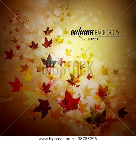 Autumn Background with Fallen Leaves | Vector EPS10 with organized layers