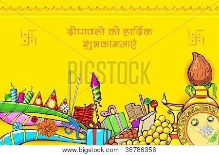 illustration of Happy Diwali wishes doodle with different object