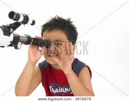 Asian Boy Stargazing With His Professional Telescope