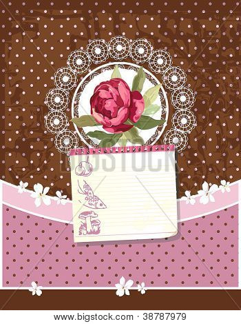 Old Retro Greeting Pastel Card with Label. Retro decor polka dot illustration.