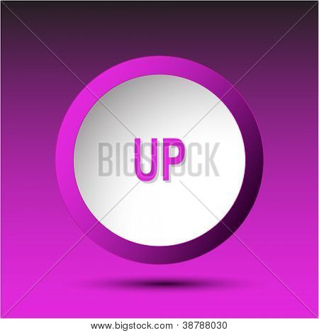 Up. Plastic button. Vector illustration.