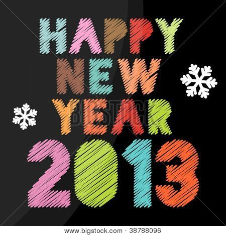 Scribbled Happy New Year 2013 poster in vintage colors
