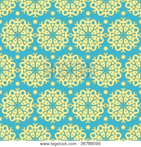Gold and blue ornate pattern, clipping mask used, fully editable