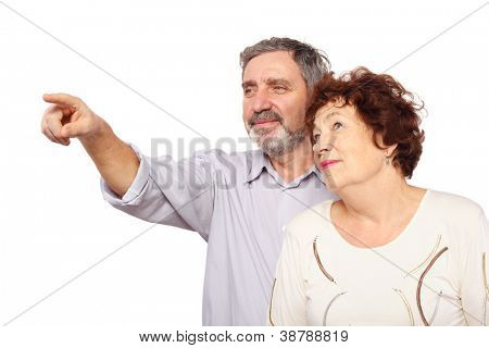 senior woman leaned on man which show forefinger, isolated