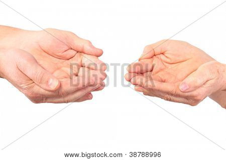 senior hands of woman, man show panhandle gesture, isolated