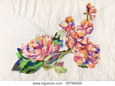Blossoming flower painting on vintage paper