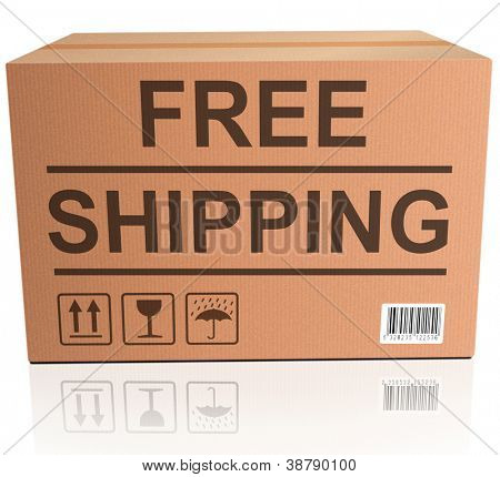 free shipping package delivery from online web shop concept and icon for internet shopping order cardboard box with text