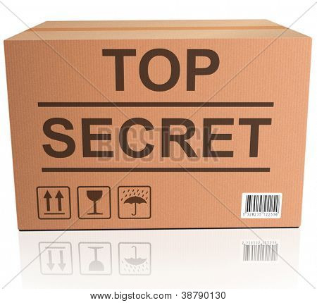 top secret package cardboard box with important classified and confidential information