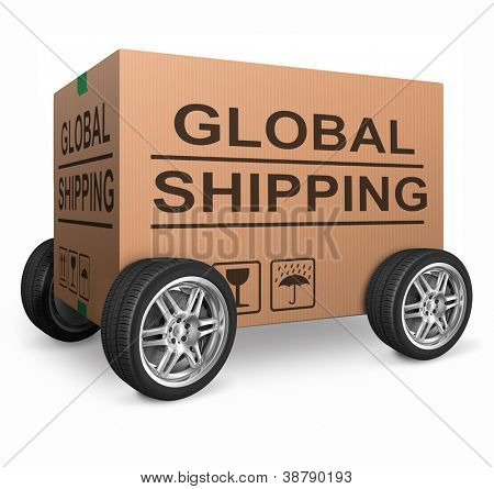 global shipping web shop icon concept for worldwide shipping online shopping order global cardboard box with text package delivery ecommerce