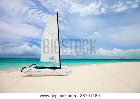 Catamaran on a beautiful Caribbean beach