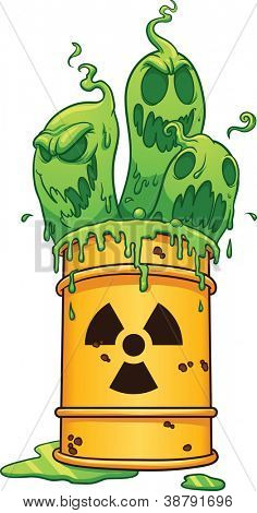 Barrel with toxic waste.  Vector clip art illustration with simple gradients. All in a single layer.