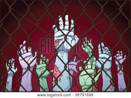 Manos espeluznante zombie detrás de una valla. Cerca, las manos y fondo en capas separadas para poder editarlos fácilmente.