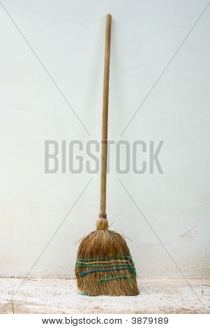 Old Classic Broomstick Against Wall
