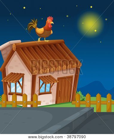 illustration of a house and hen in night