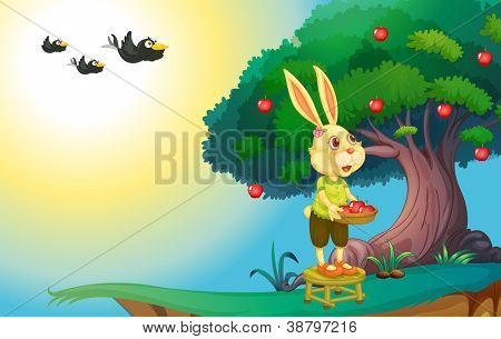 illustration of a rabbit in green nature